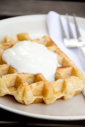 Stuffed Waffle with whipped Cream